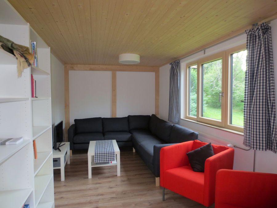 Sitzbereich mit TV:TV; Ecksofa; Sessel; Bibliothek
