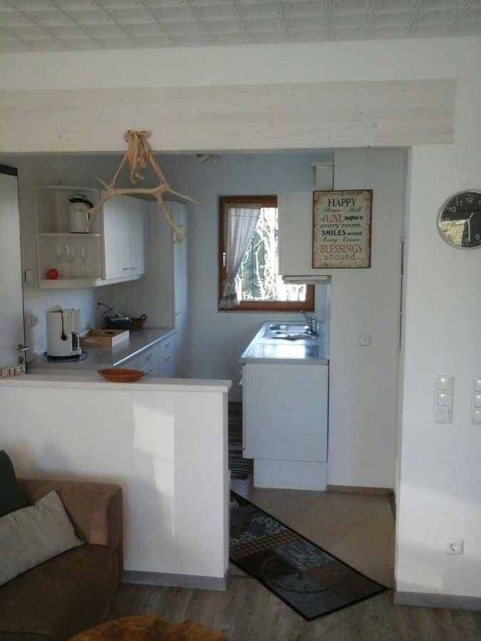 Offene Wohnküche:Die offene Wohnküche ist integriert in die Stube.
