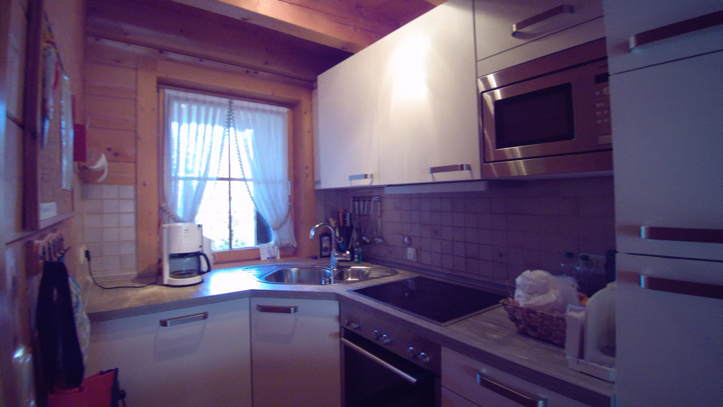 Küche :mit Geschirrspüler Microwelle Kühlschrank mit großem Gefrierfach