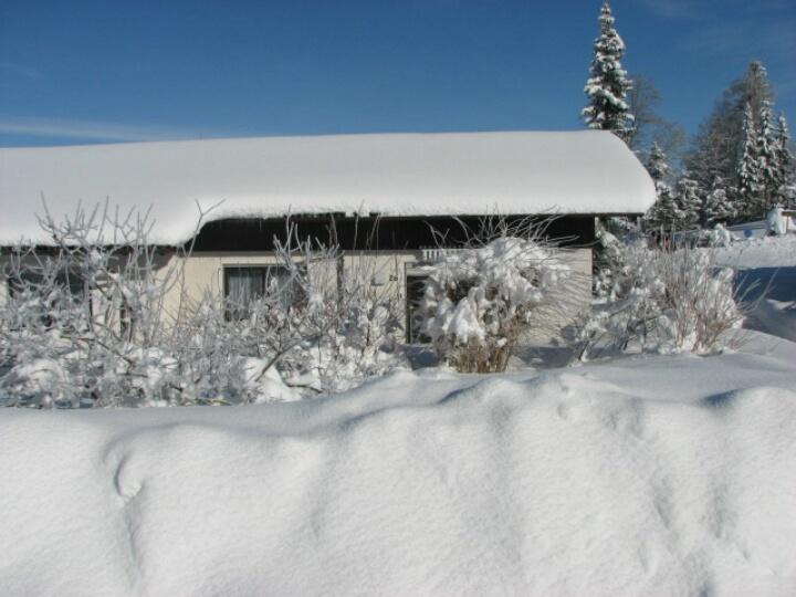 Winter:hier kann man eine Schneebar auf der Terrasse bauen